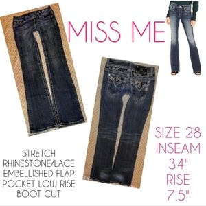 Miss Me Jeans Size 28 Low Rise Boot Cut